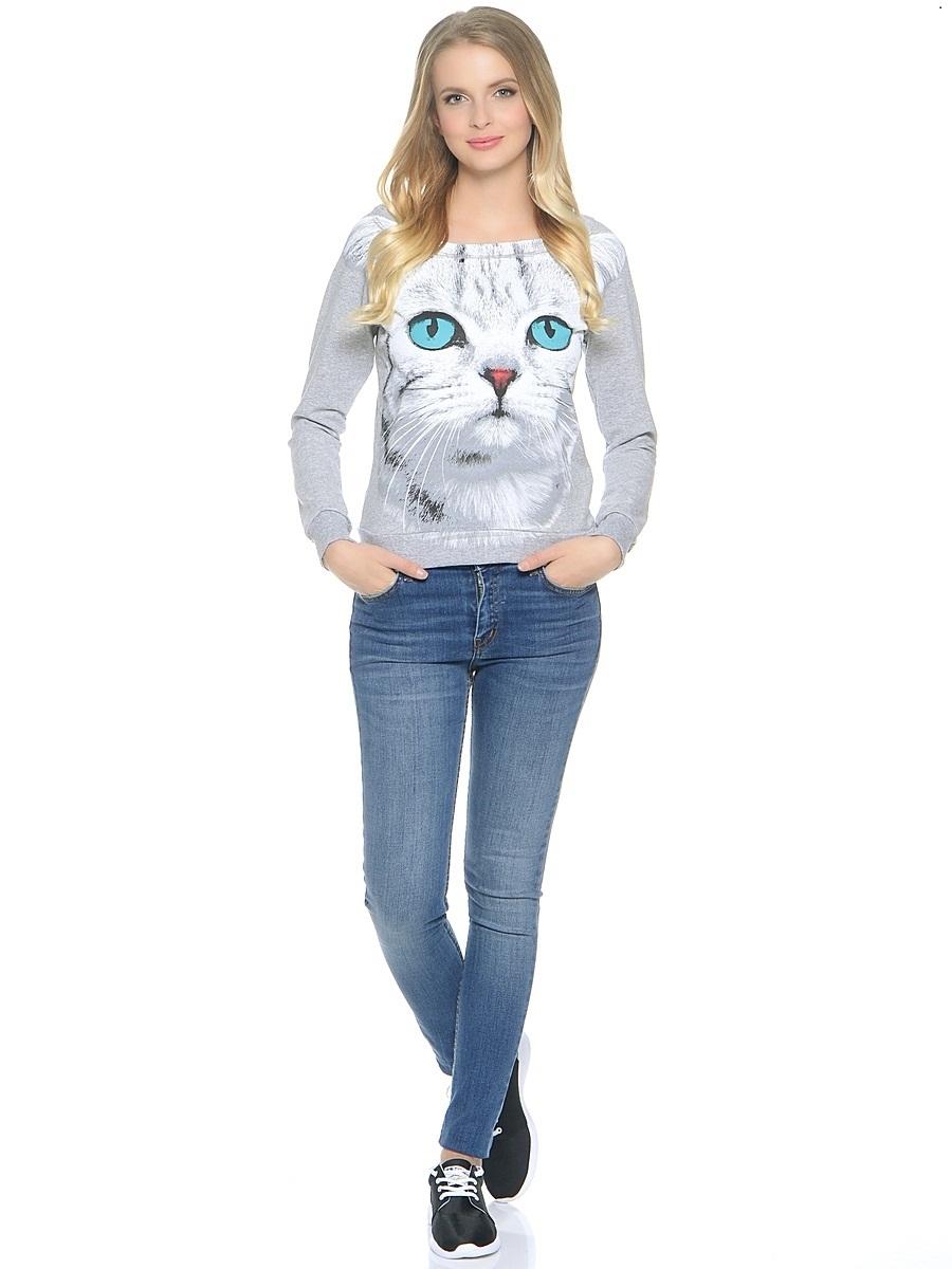 Свитшот Серая кошка с голубыми глазами