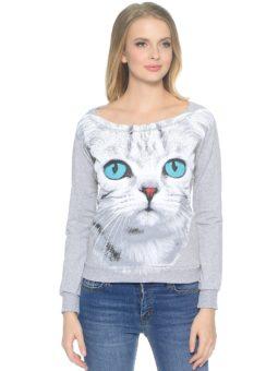 Серая кошка с голубыми глазами