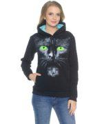 Толстовка Кошка с зелеными глазами