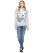 Толстовка Серая кошка с голубыми глазами